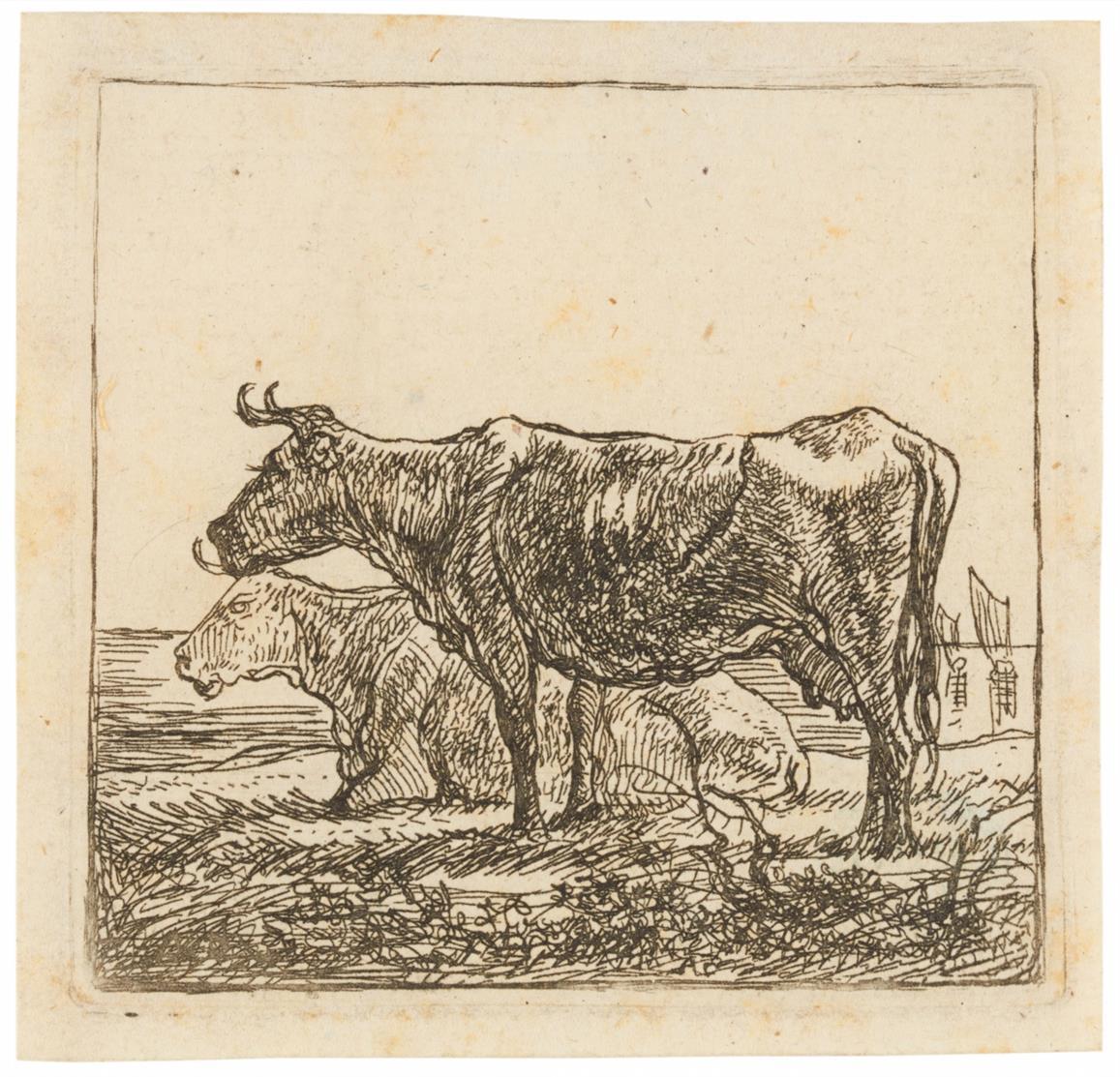 Aelbert Cuyp. Zwei Kühe. Radierung. H.1.