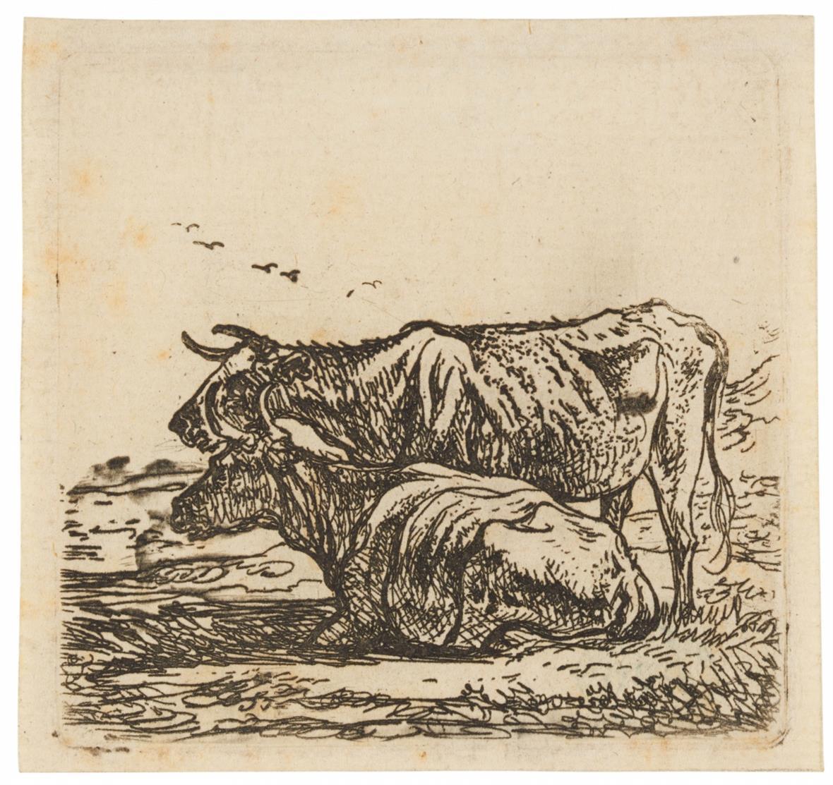 Aelbert Cuyp. Zwei Kühe. Radierung. H. 3.