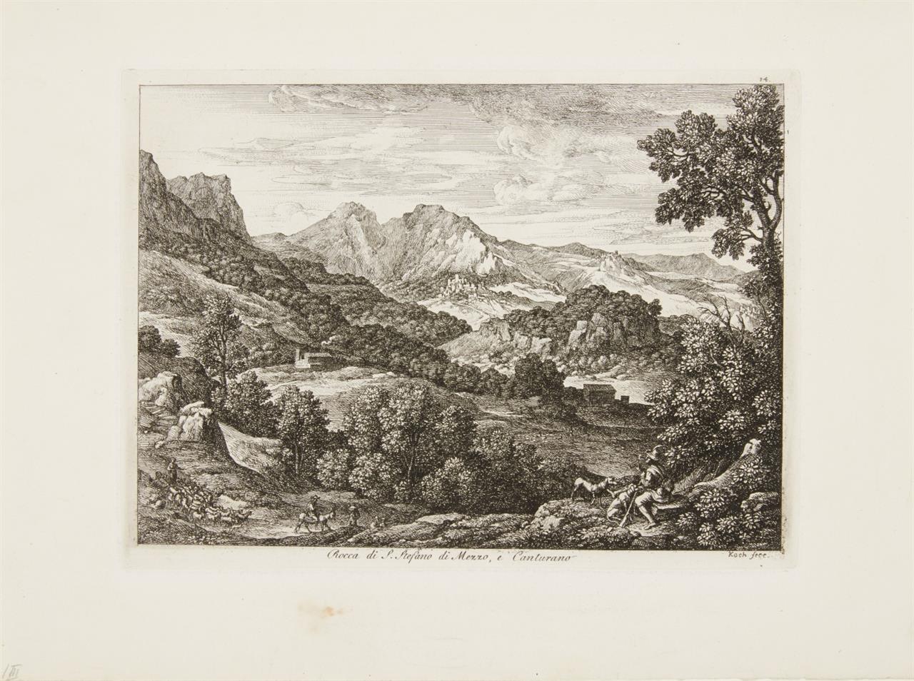 Joseph Anton Koch. Rocca di S. Stefano die Mezzo, et Canturano. Radierung. A. 14 III.