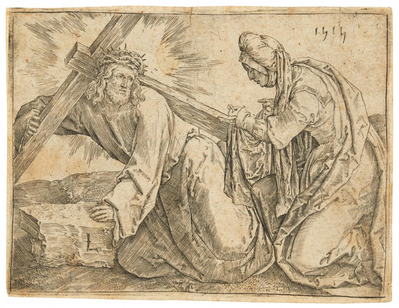 Lucas van Leyden. Die Kreuztragung. 1515. Kupferstich. NH 72 b.