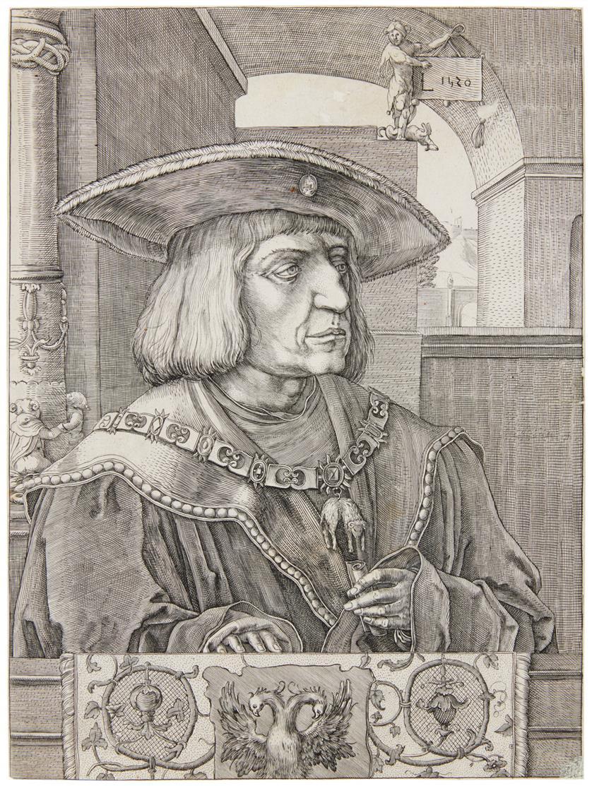 Lucas van Leyden, nach. Maximilian I. Kupferstich. Vgl. NH 172.