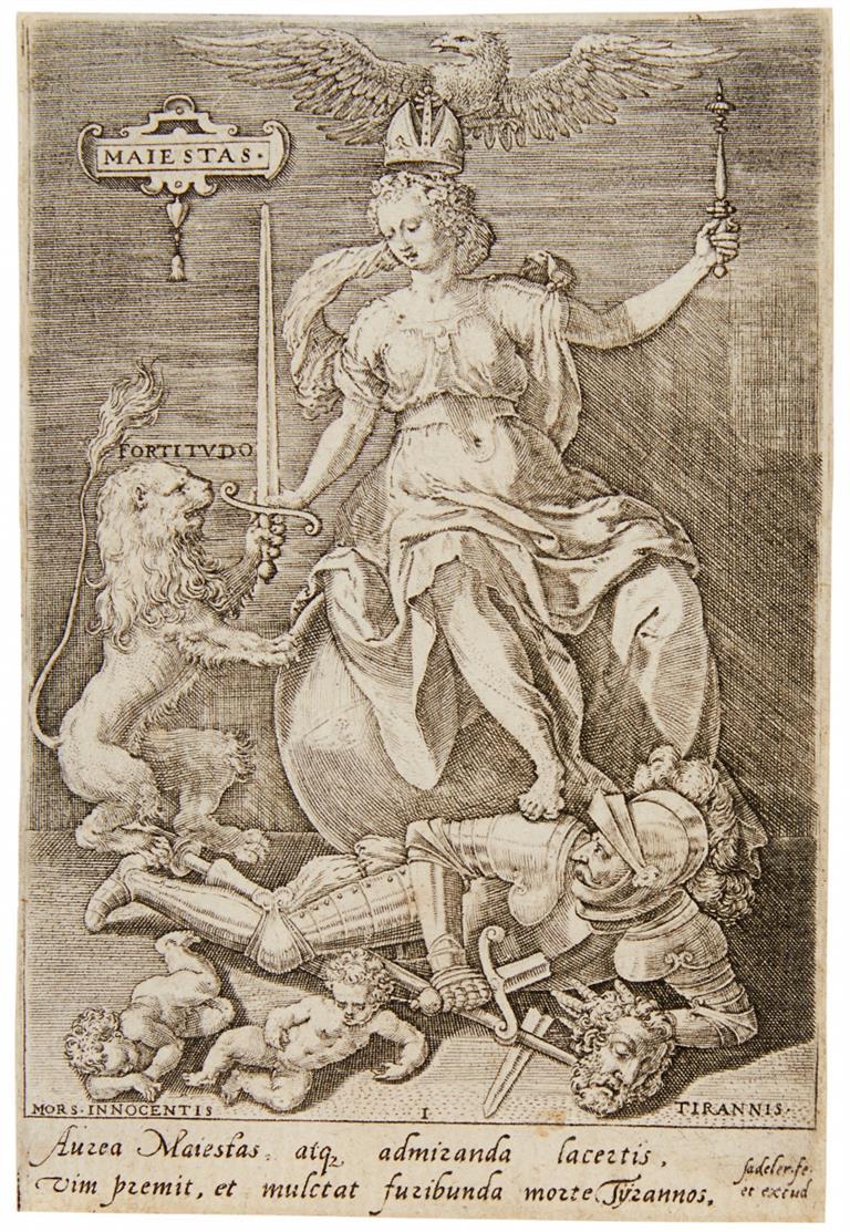 Johannes Sadeler. Die Tugenden besiegen die Lasten. 1579. Folge von 9 Blatt Kupferstichen. H. 536-544.