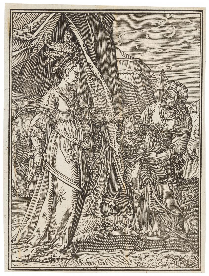 Christoffel van Sichem II. Judith mit dem Haupt des Holofernes. Holzschnitt n. Goltzius.