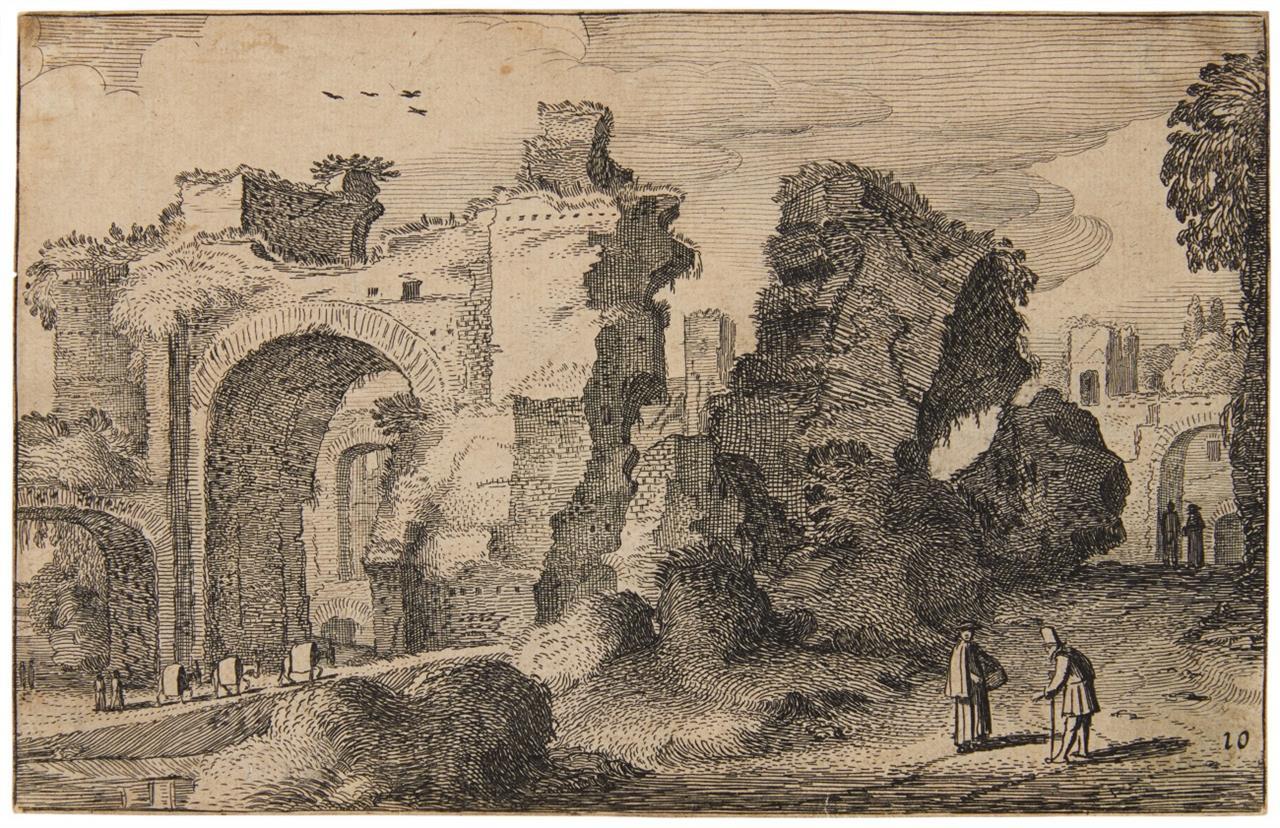 Jan van de Velde II. Die Ruinen der Caracalla-Thermen in Rom. 1616. Radierung. H. 289 II.
