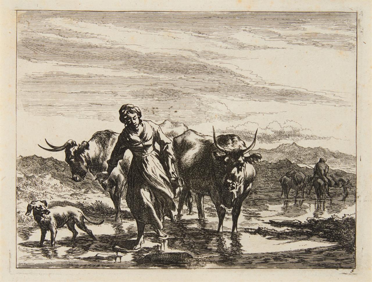 Johannes Visscher. Pastorale Landschaften. Folge von 6 Blatt Radierungen. H. 67 - 72.