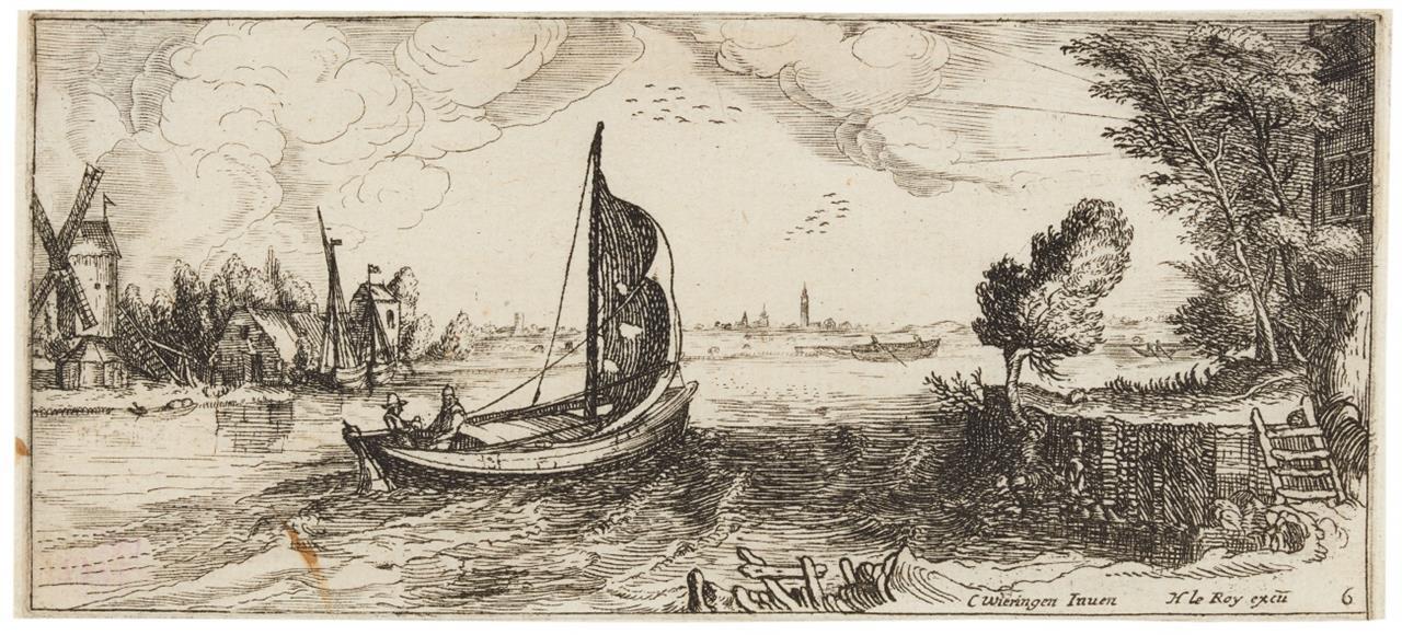 C.C.v. Wieringen. Boot auf einem Fluss. Radierung. H. 11.