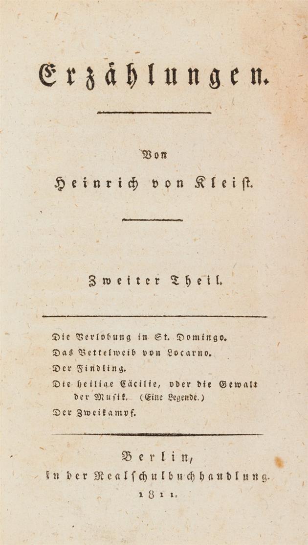 H. v. Kleist, Erzählungen. 2 Bde. in 1. Berlin 1810-11.