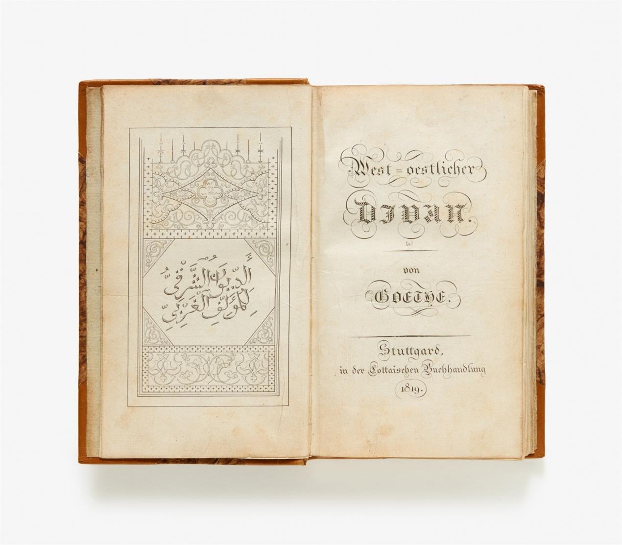 J. W. v. Goethe, West-oestlicher Diwan. Stgt 1819.