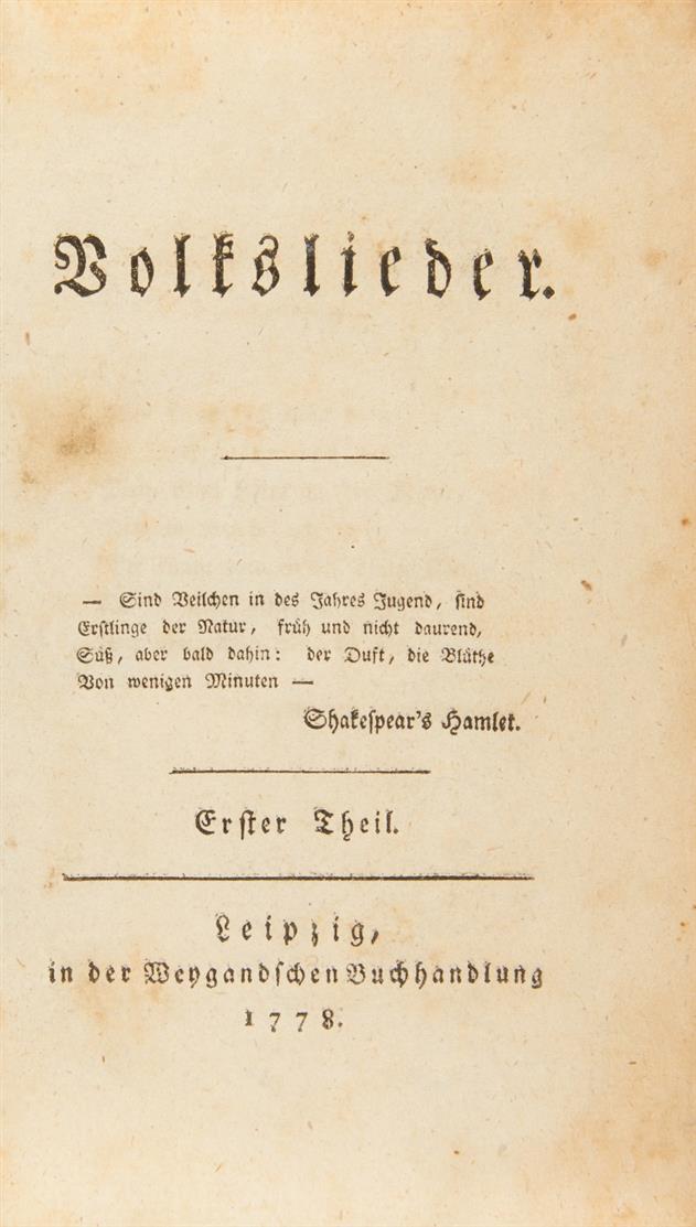 J. G. Herder, Volkslieder. 2 Bde. Leipzig 1778-79.