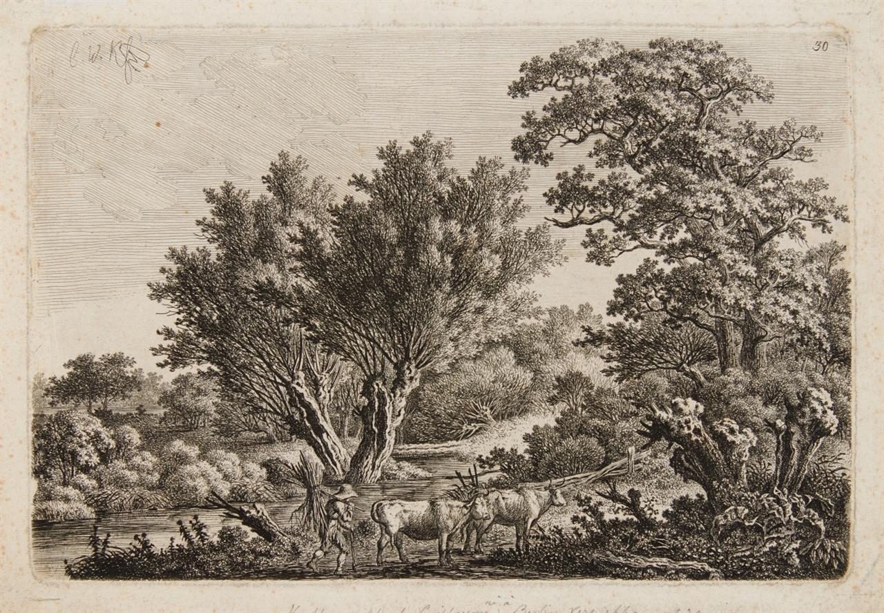 Carl Wilhelm Kolbe. Weidenbuschlandschaft mit Hirte und zwei Rindern. Radierung.