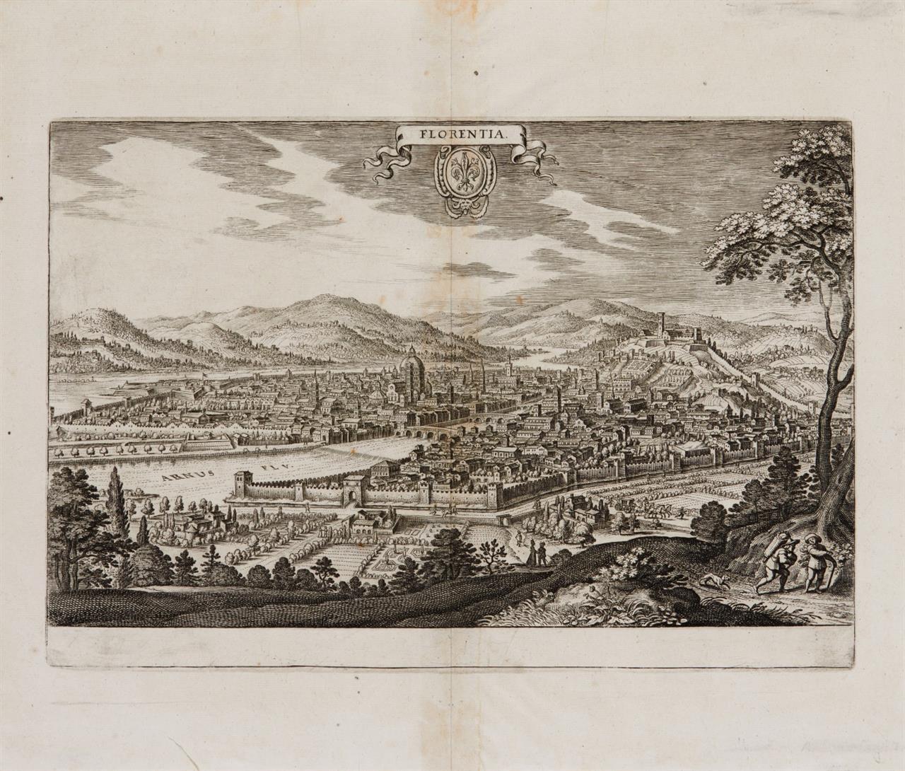 Florenz. Florentia. Gesamtansicht. Radierung aus Merian.
