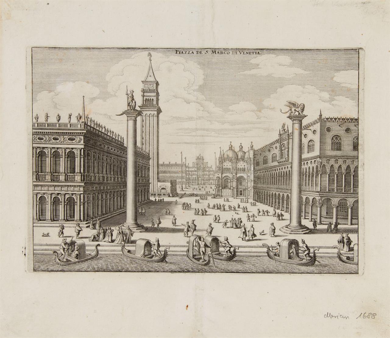 Venedig. Piazza di S. Marco. 2 Ansichten. 2 Blatt Radierung a. Merian Itinerarium Italiae...
