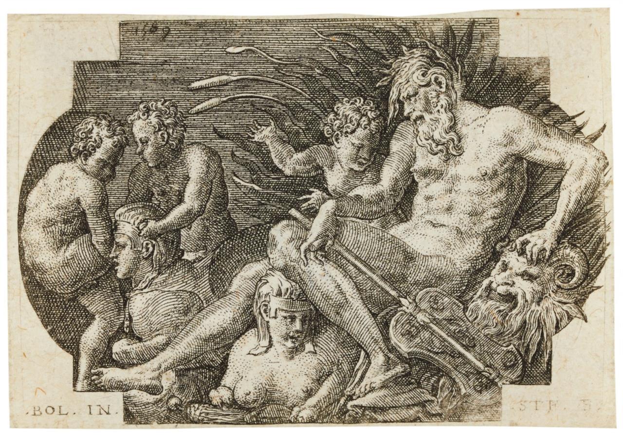 Etienne Delaune nach Primaticcio. Der Nil. 1569. Kupferstich.