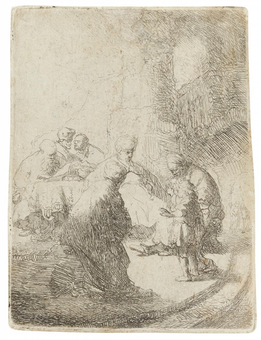 Rembrandt. Christus als Knabe unter den Schriftgelehrten. 1630. Radierung, B.66; NH 53 IV (von VI).