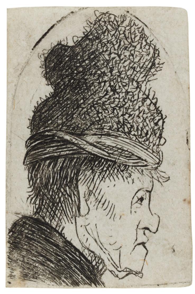 Rembrandt. Profilkopf eines Mannes in hoher Mütze. Ca. 1629. Radierung. B.326; NH 35 V (von VI).