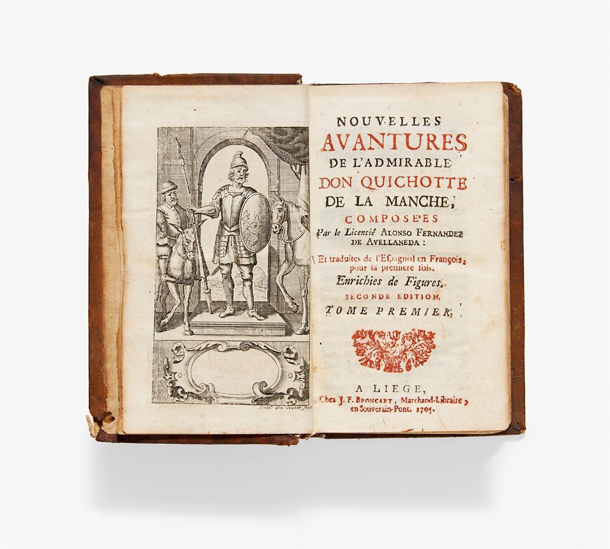 Cervantes/ A. F. de Avellaneda, Nouvelles avantures... Don Quichotte. 2 Bde in 1. 1705.