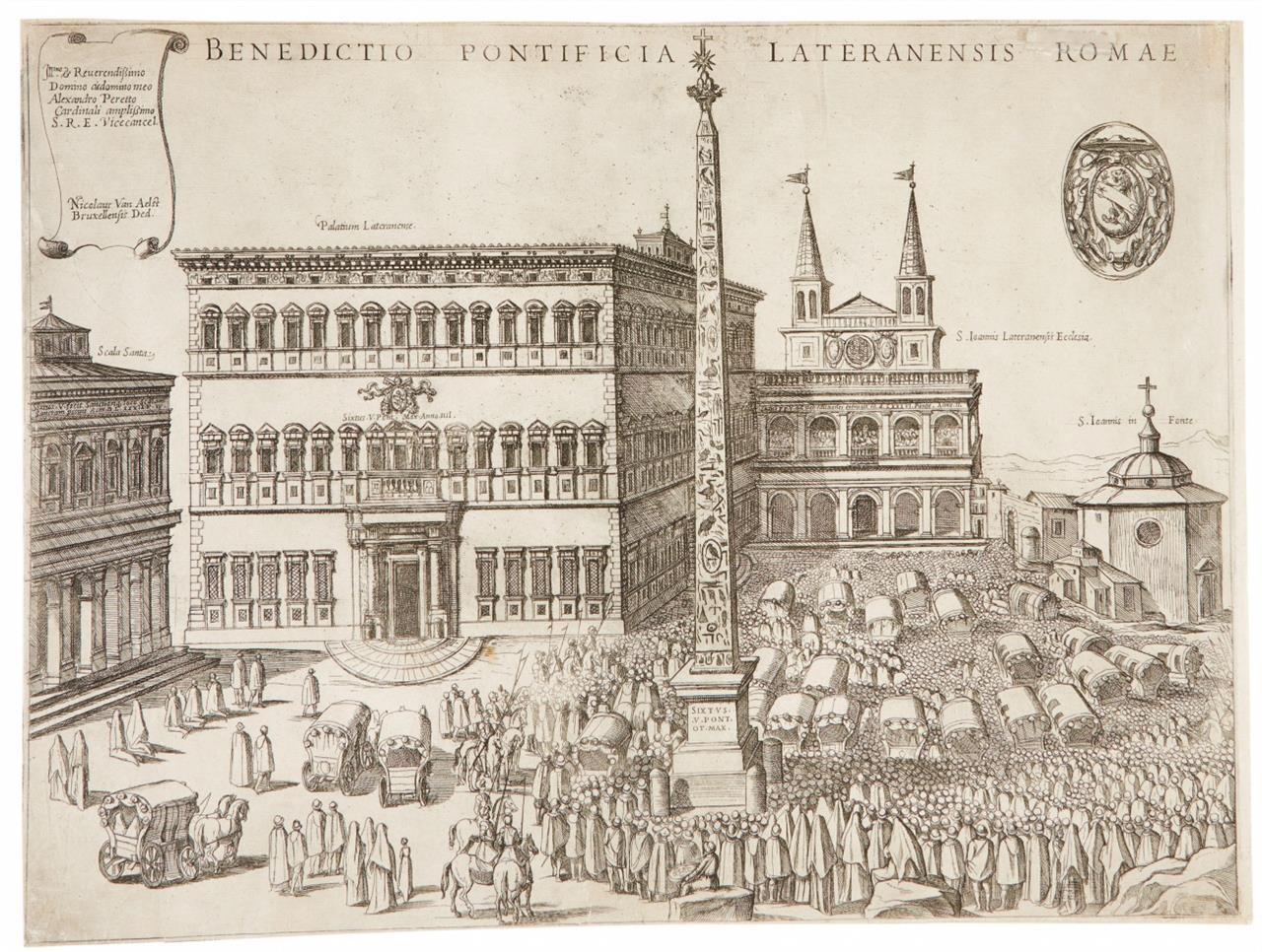 Nicolaus van Aelst. Lateranpalast, Scala Santa und Obelisk. Kupferstich und Radierung.