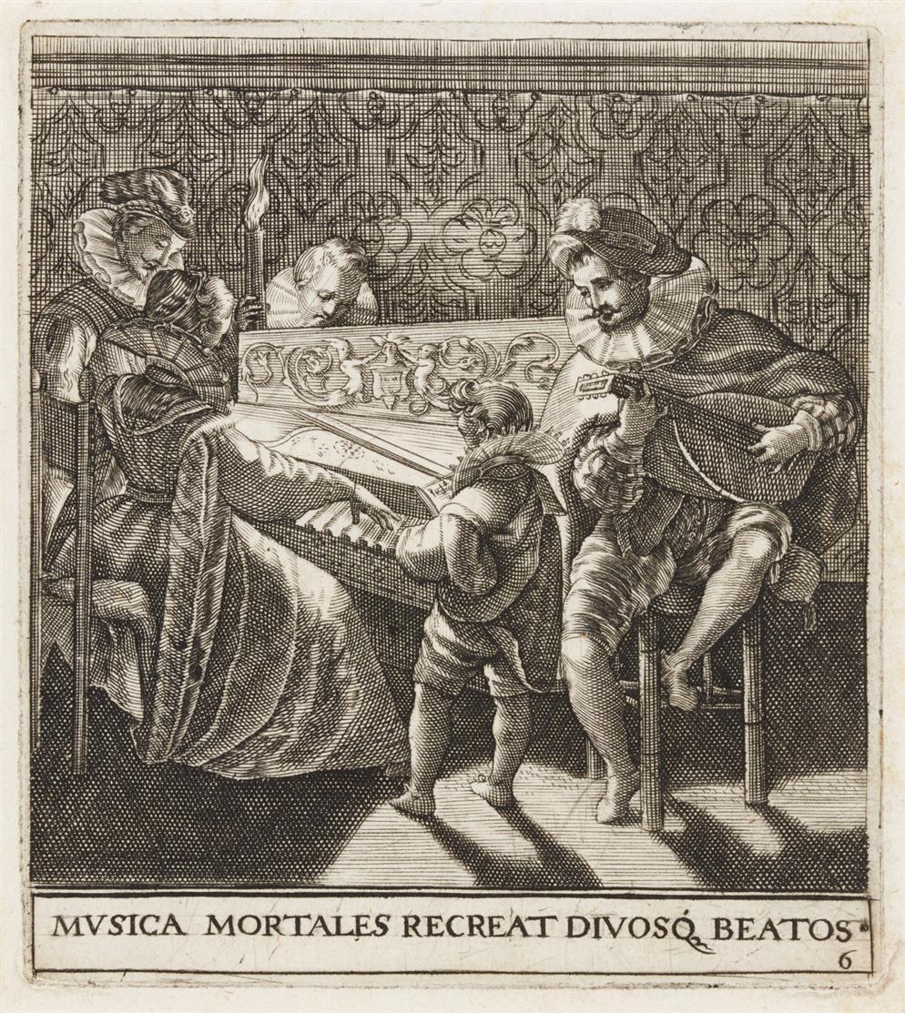 Theodor de Bry. Kammerkonzert aus Emblemata Saecularia... 1596. Kupferstich.