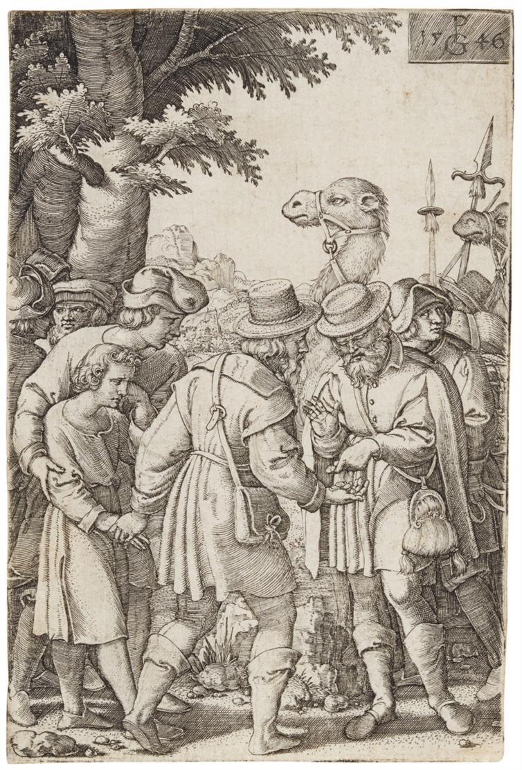 Georg Pencz. Joseph wird an die Kaufleute verkauft. Kupferstich. H. 10.
