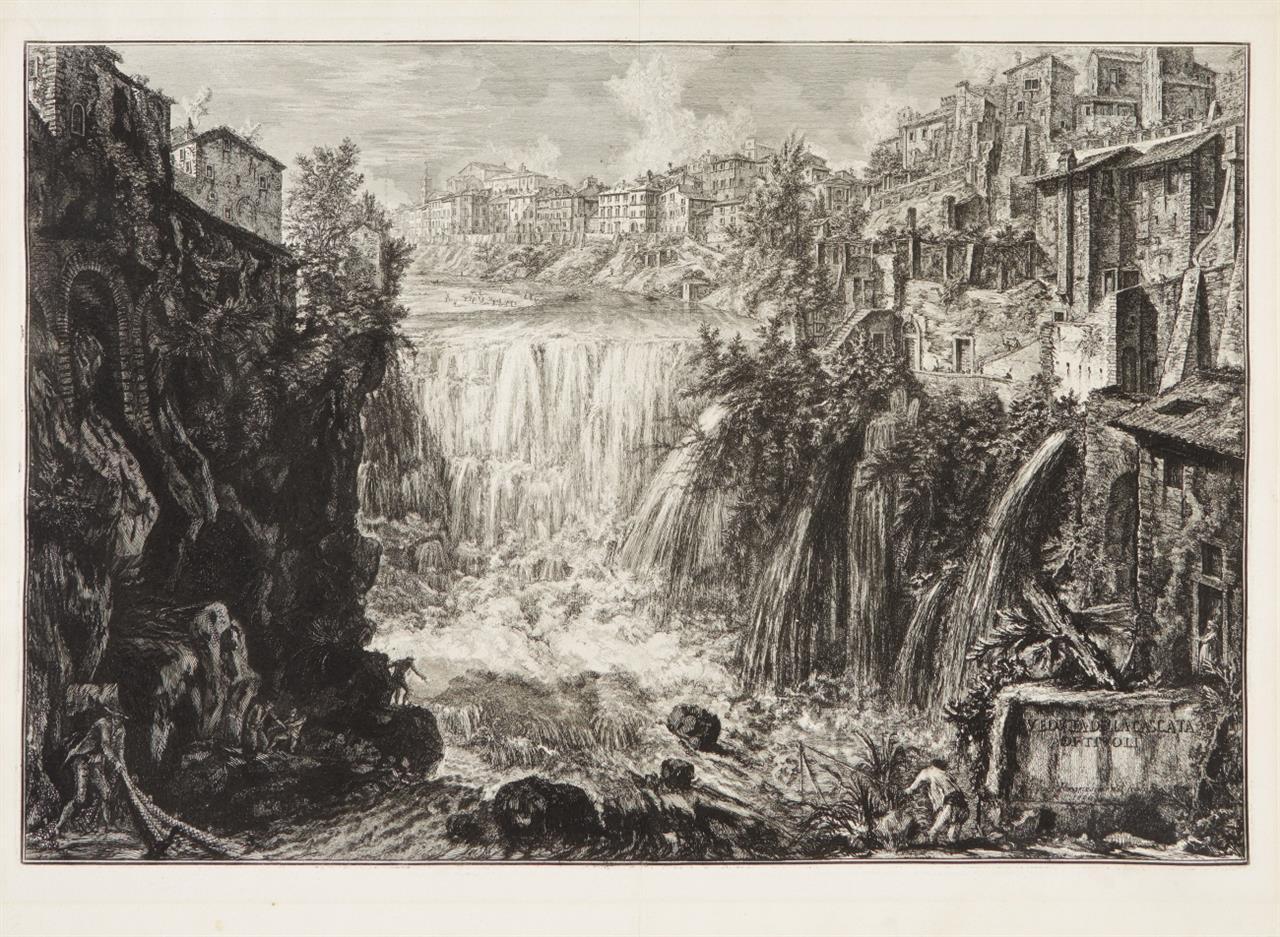G.B. Piranesi. Veduta della Cascata di Tivoli (Der Wasserfall von Tivoli). 1766. Radierung. H. 75 I/II; W.-E. 208.