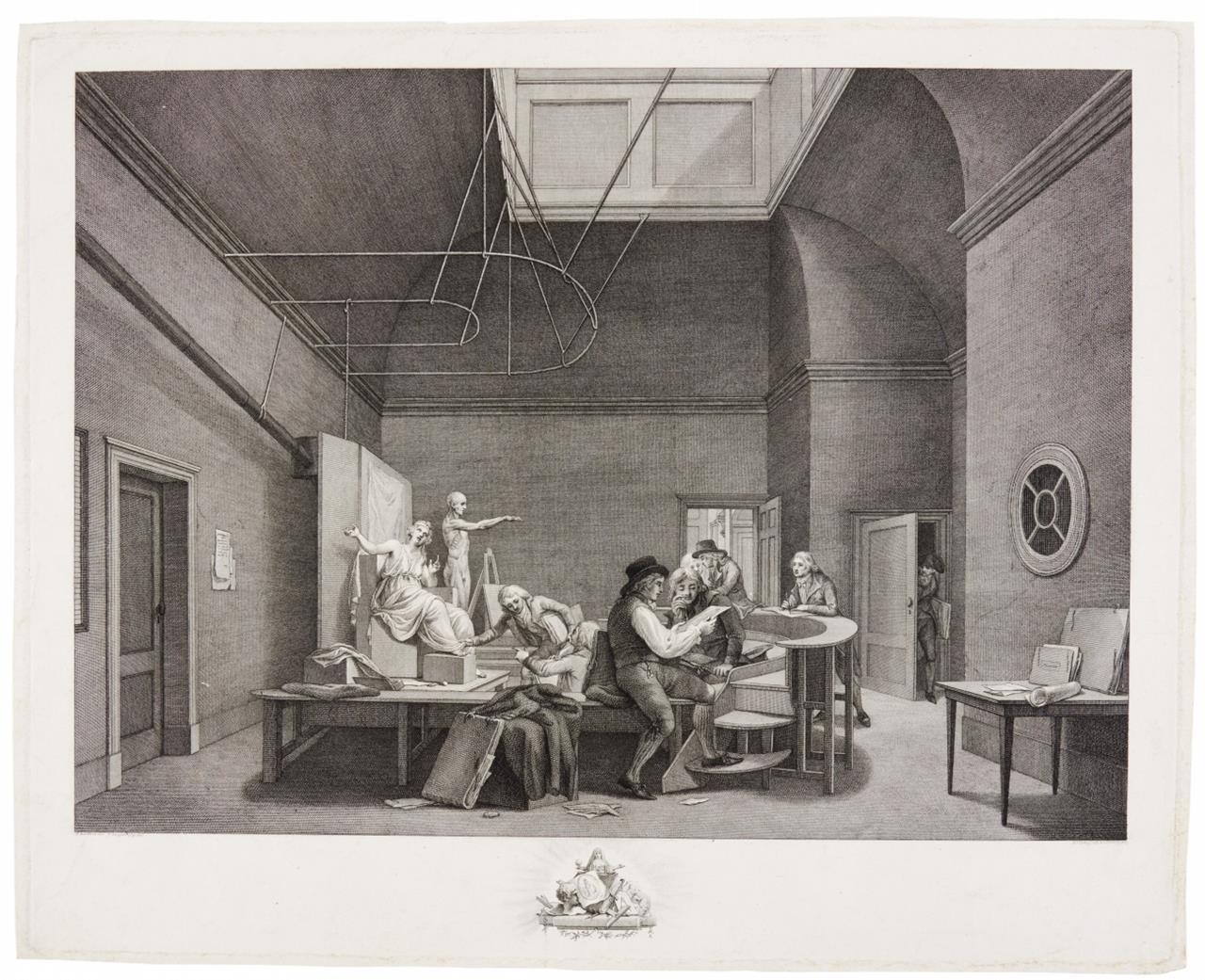 Reinier Vinkeles. Teken Zaal in het Gebouw der Maatschappye Felix Meritis. Um 1800. Kupferstich und Radierung.