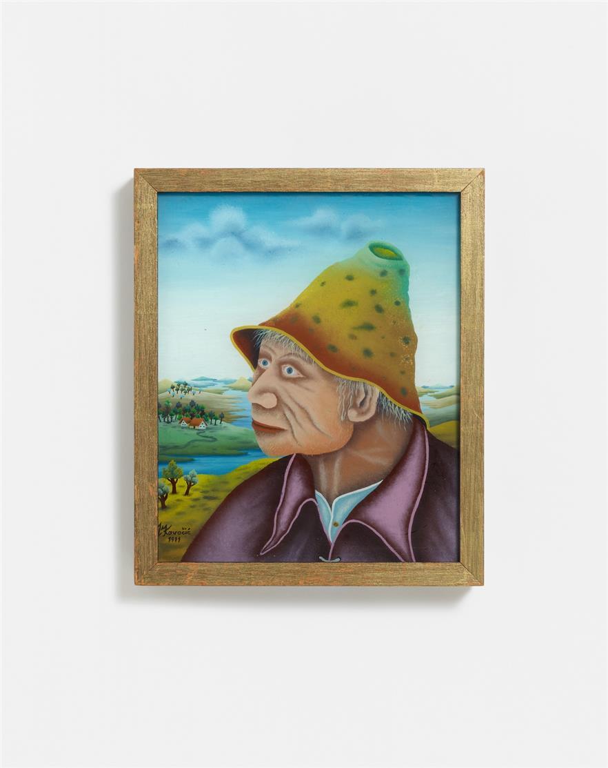 Mijo Kovacic. Bildnis eines Bauern. 1971. Hinterglasmalerei. Signiert.