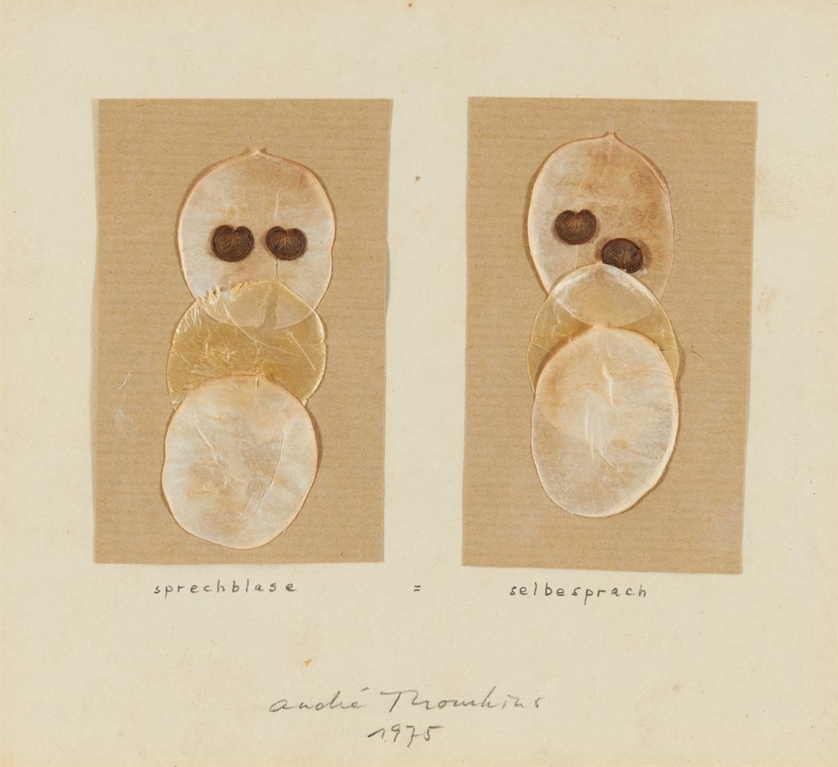 André Thomkins. Sprechblase - Selbesprach. 1975. Collage aus Blütenblättern und Planzensamen auf Papier. Signiert.