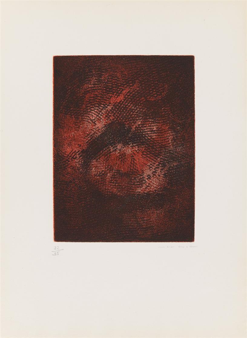 Max Ernst. Paroles peintes. 1962. Farbaquatintaradierung. Signiert. Ex. 32/35.