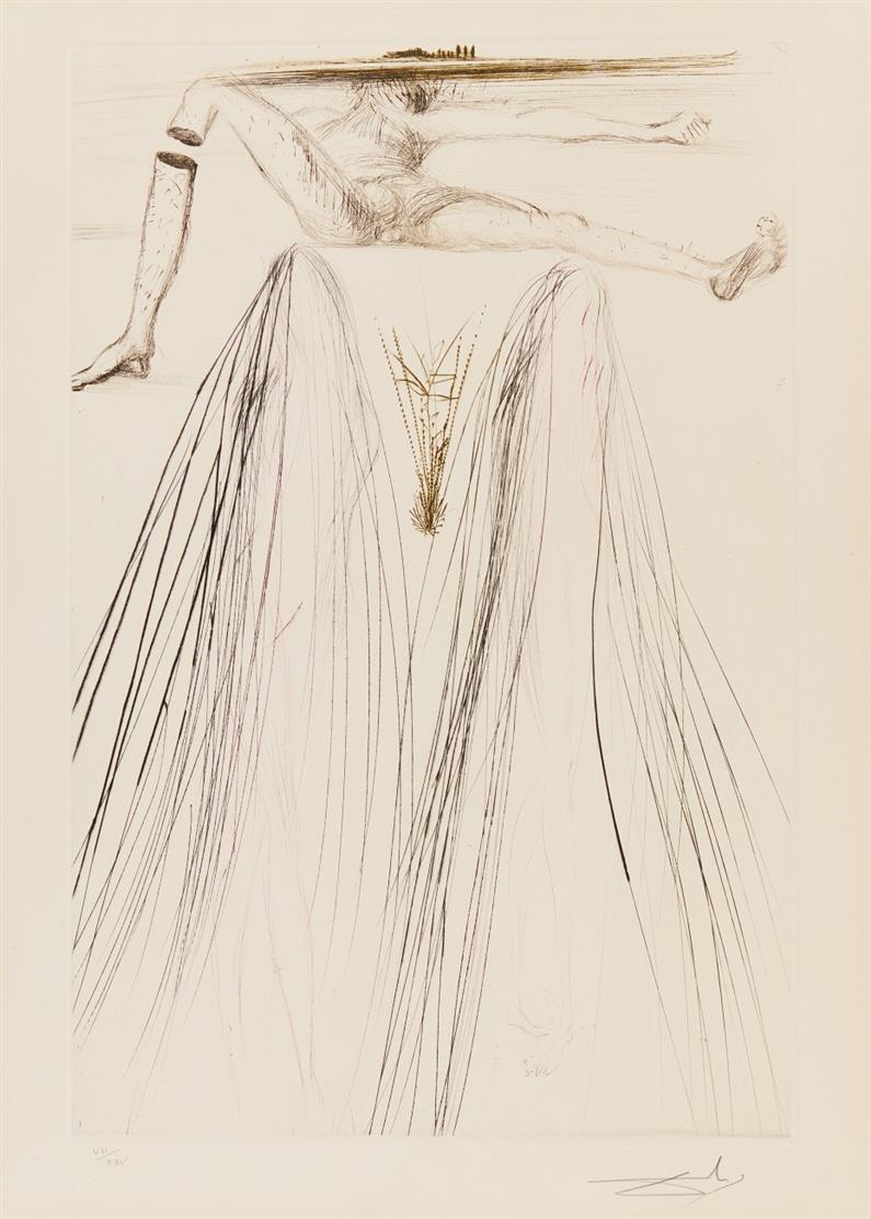 Salvador Dalí. Le Géant Béliagog (aus: Tristan und Isolde). 1970. Farb-Kaltnadelradierung. Signiert. Ex. VII/XXV. Michler/Löpsinger 421 b.