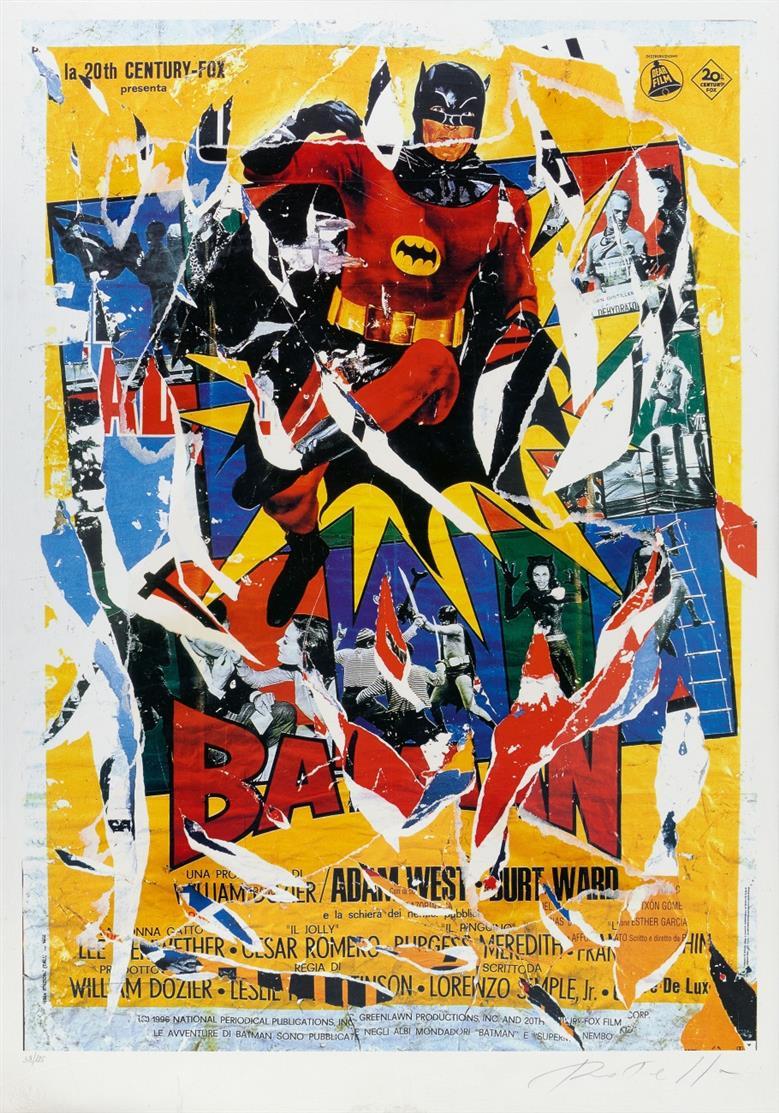 Mimmo Rotella. Batman. Farbserigraphie und Décollage. Signiert. Ex. 38/125.