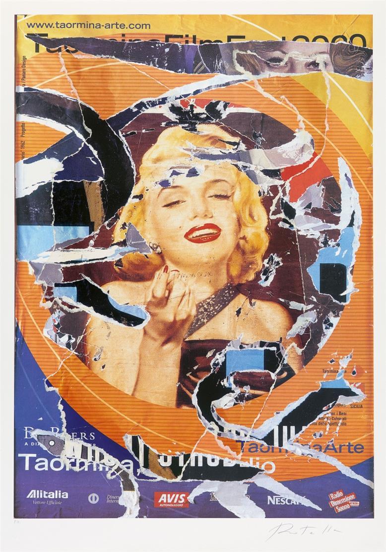 Mimmo Rotella. Marilyn. Farbserigraphie und Décollage. Signiert. Ex. P.A.