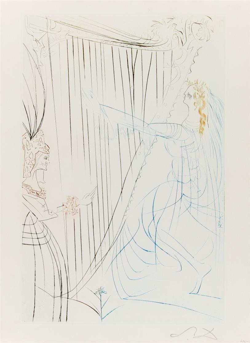Salvador Dali. Aus: Tristan und Isolde. 1970. 6 Farb-Kaltnadelradierungen (auf 5 Doppelbogen mit rs. Text bzw. auf 1 Einzelbl.) + dazu: 2 Blatt Text. Radierungen je monogrammiert. M./L. 409, 410, 412, 413, 419 bzw. 424, je b.