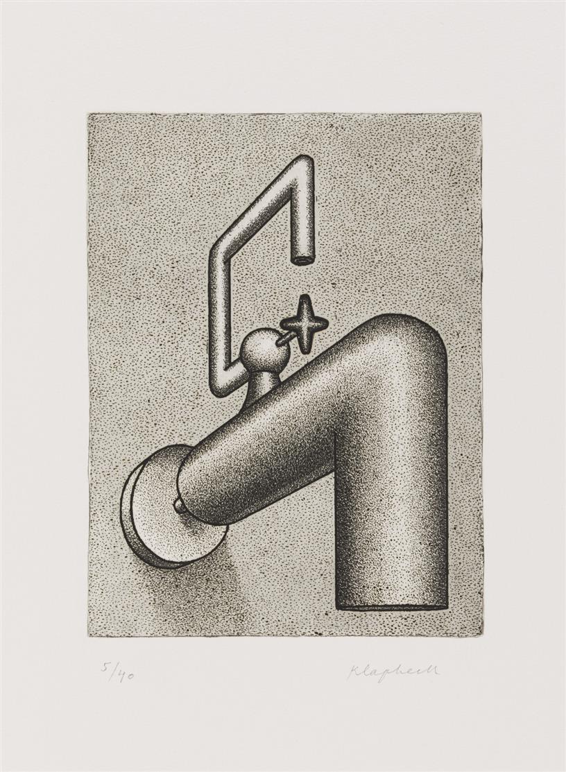 Konrad Klapheck. Die Selbstsichere. 1972. 3 Blatt Radierungen in verschiedenen Druckzuständen. Zustand A, B, C. Ex, 5/30; V/XX, 5/40.