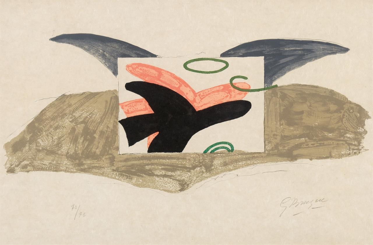 Georges Braque. Affiche pour Lettera Amorosa. 1963. Farblithographie auf Japan. Signiert. Ex. 70/75. M.118; V. 185.