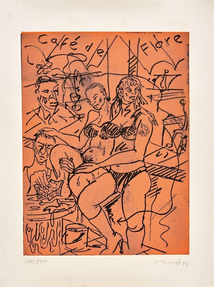 Jörg Immendorff. Café de Flore. 1992. Linolschnitt in 2 Farben. Signiert. Ex. 175/200. R. 1992.2