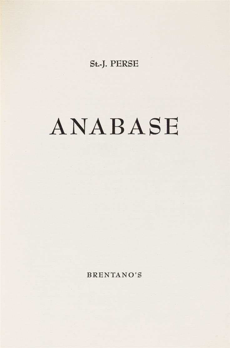 Saint-John Perse, Anabase. New York 1945. - Ex. 174/300.