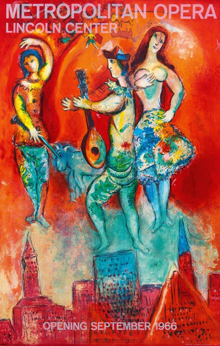Marc Chagall. Metropolitan Opera, Lincoln center, Opening September, 1966. Plakat, bei Mourlot.