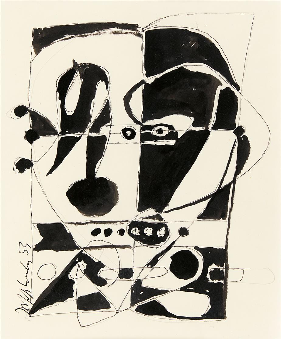 Joseph Fassbender. Ohne Titel. 1953. Tusche und Bleistift. Signiert.