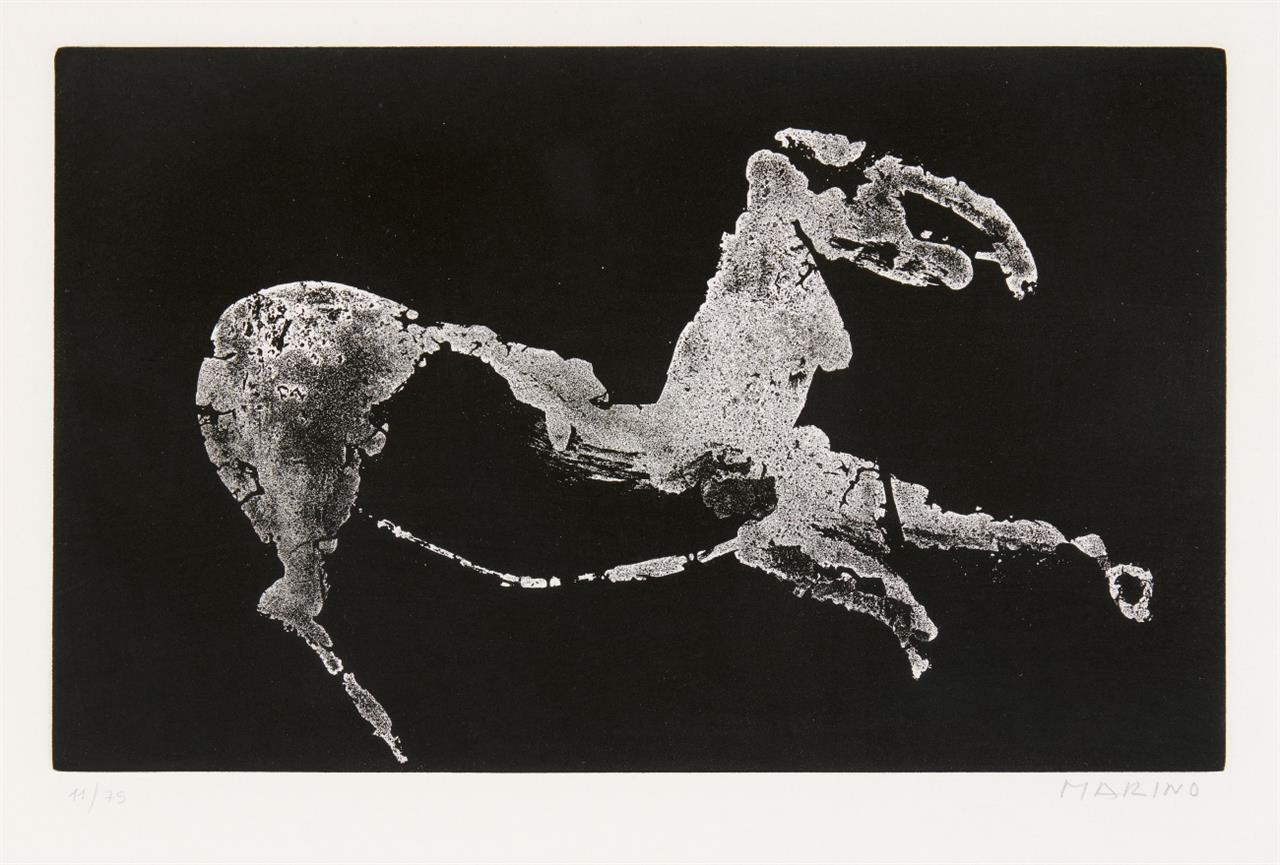 Marino Marini. Kleines Pferd. 1974. Aquatinta. Signiert. Ex. 11/75. Guastalla 322.