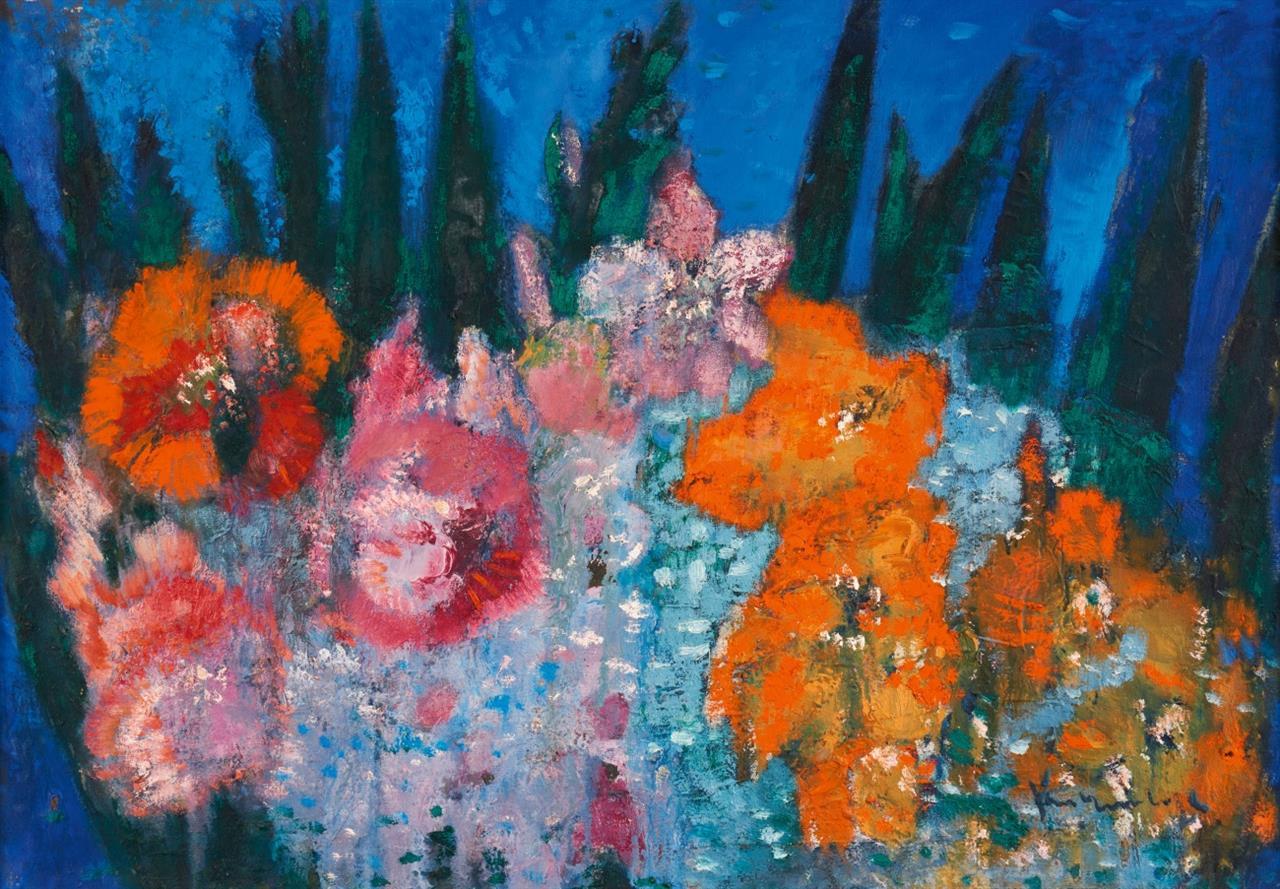 Friedrich Vordemberge. Beet mit roten Blumen. Öl auf Leinwand. Signiert.