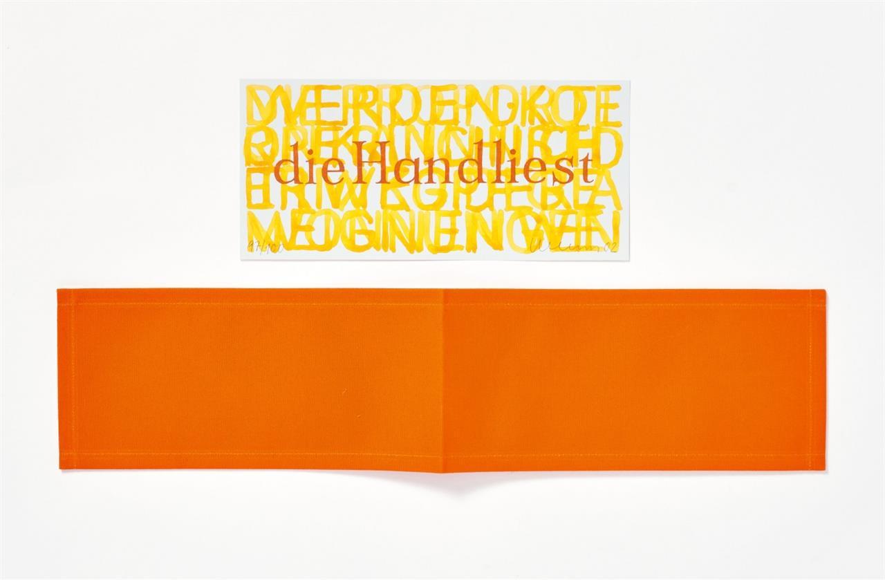Franz Erhard Walther. die Hand liest (Lesezeichen). 2002. Baumwolle, auf beiliegendem Offsetdruck-Zertifikat signiert. Ex. 97/100.