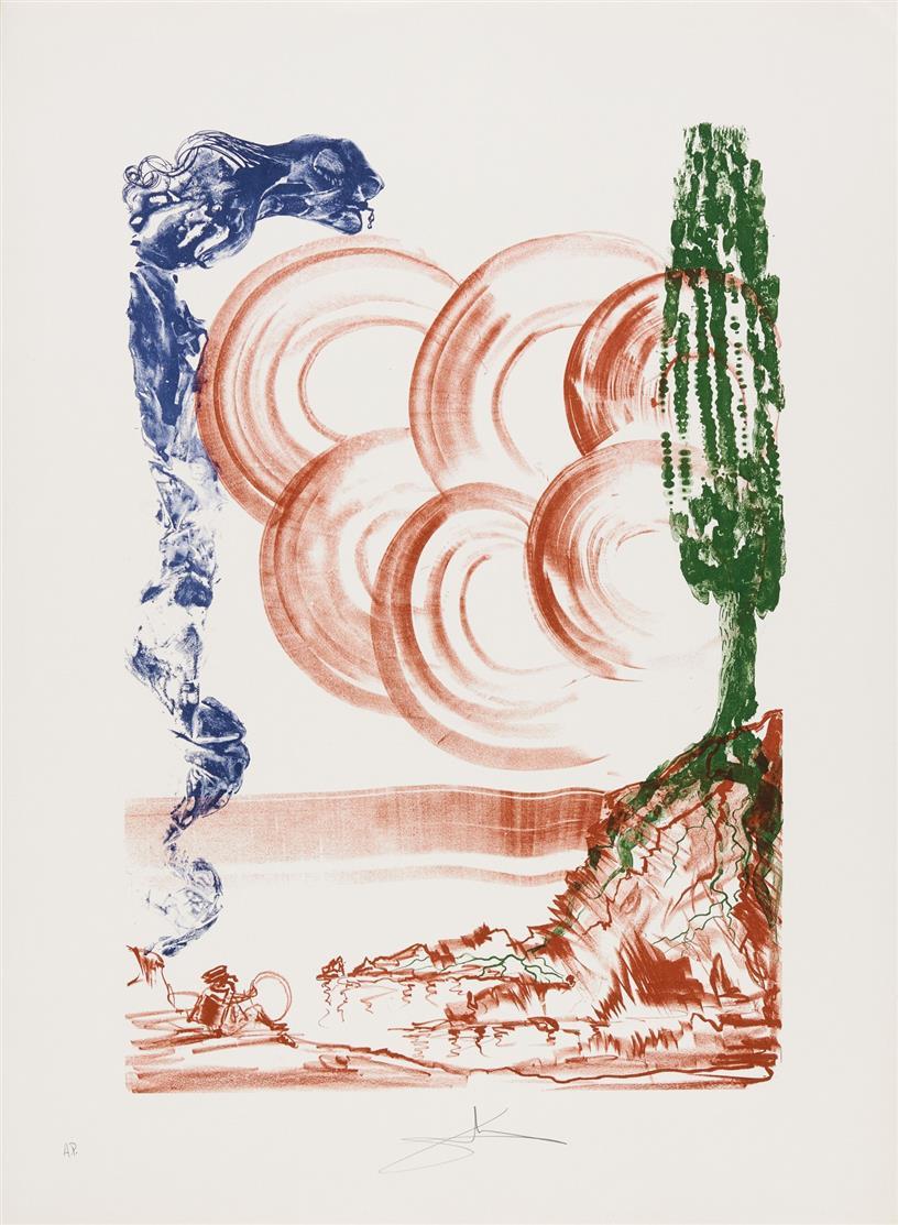 Salvador Dali. Colibri (Atomo/Moscas). 1973. 2 Blatt Farblithographie. Signiert. Ex. A.P. Field 73-5 A/B.