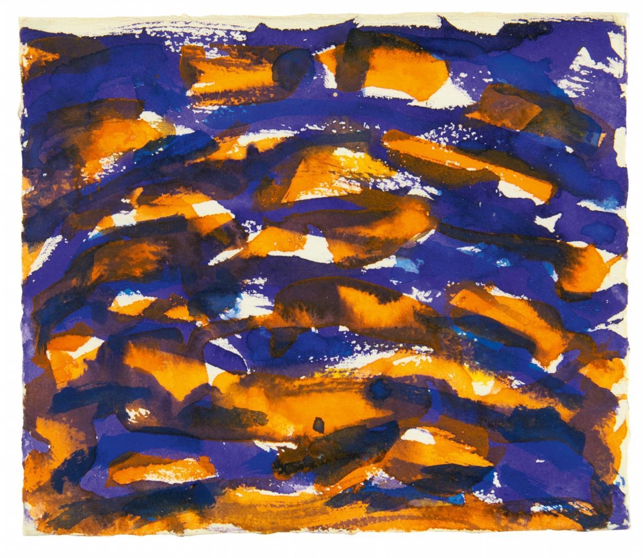 Günther Uecker. Wüstenblühen. 1987. Aquarell. Signiert.