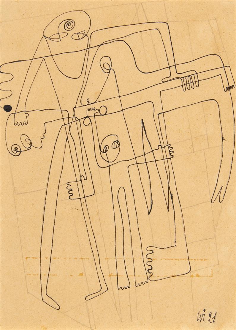 Fred Alfred Theophil Fathwinter. Verschlungene Linien. 1921. Tusche und Bleistift. Monogrammiert.