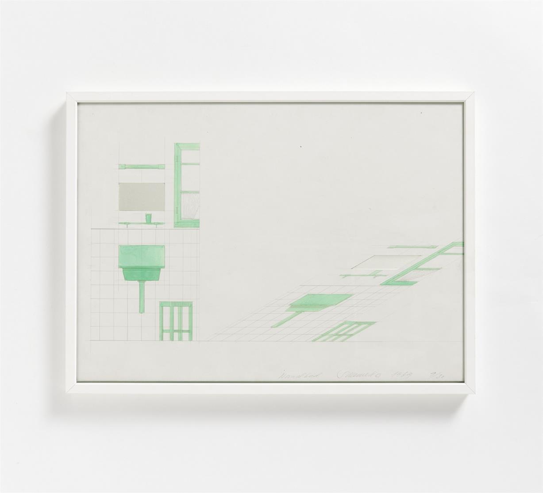 Stefan Wewerka. Normalbad 1969./ Ohne Titel (Stühle). 1969. 2 Blatt aquarellierte Serigraphien, eine mit Spiegel-Collage. Signiert. Ex. 9/30 bzw. 7/30.
