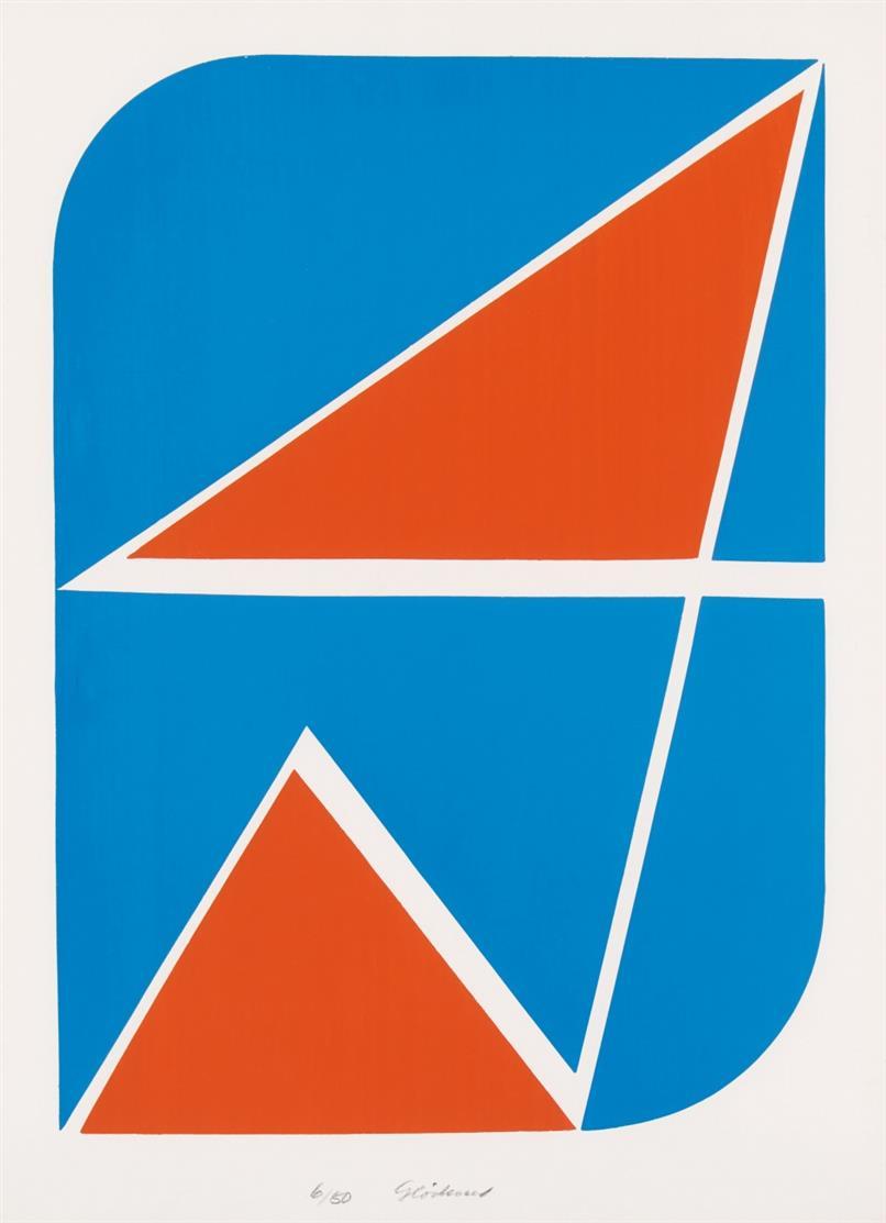 Hermann Glöckner. Zeichen in Rot und Blau. 1969. Farbserigraphie. Signiert. Ex. 6/50.