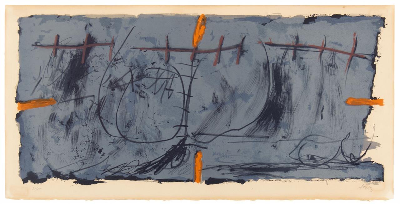 Antonie Tàpies. Orange et gris. 1967. Farblithographie. Signiert. Ex. 27/75. Galfetti 142.