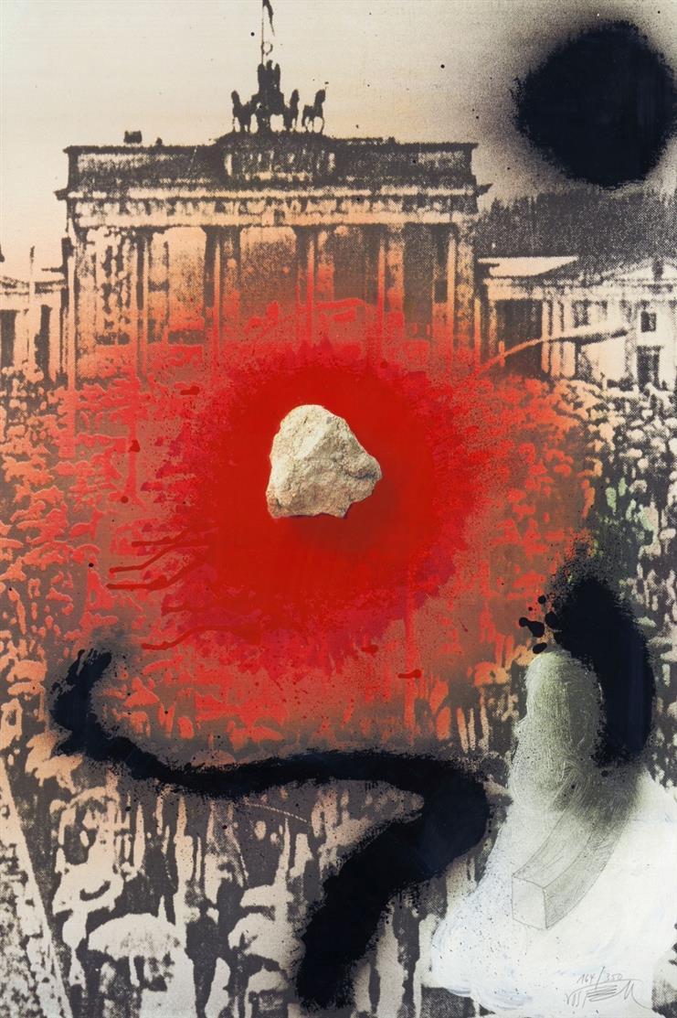 Wolf Vostell. Wer ohne Sünde ist .... 1990. Farboffset mit Serigraphie. Signiert. Ex. 164/350. Vomm 1990:5.