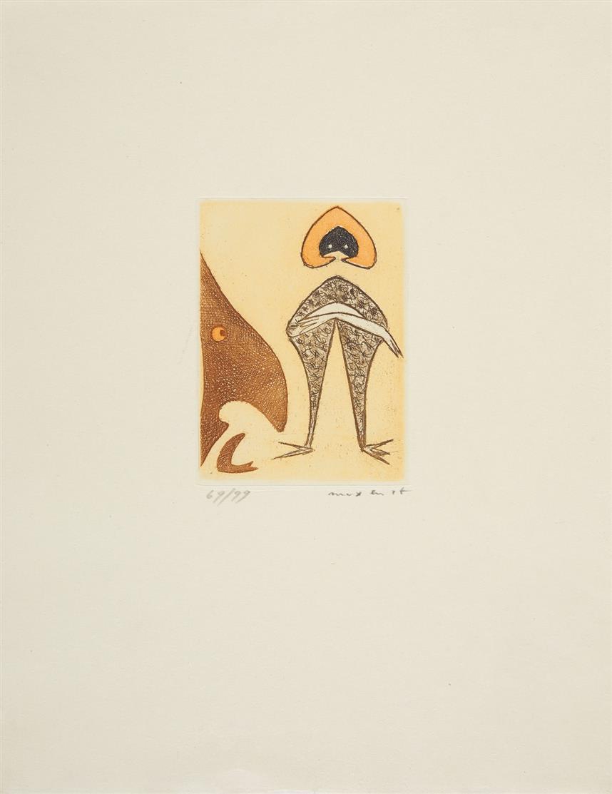Max Ernst. Ohne Titel (Le Chapeau rouge). 1949. Farbradierung. Signiert. Ex. 69/99.