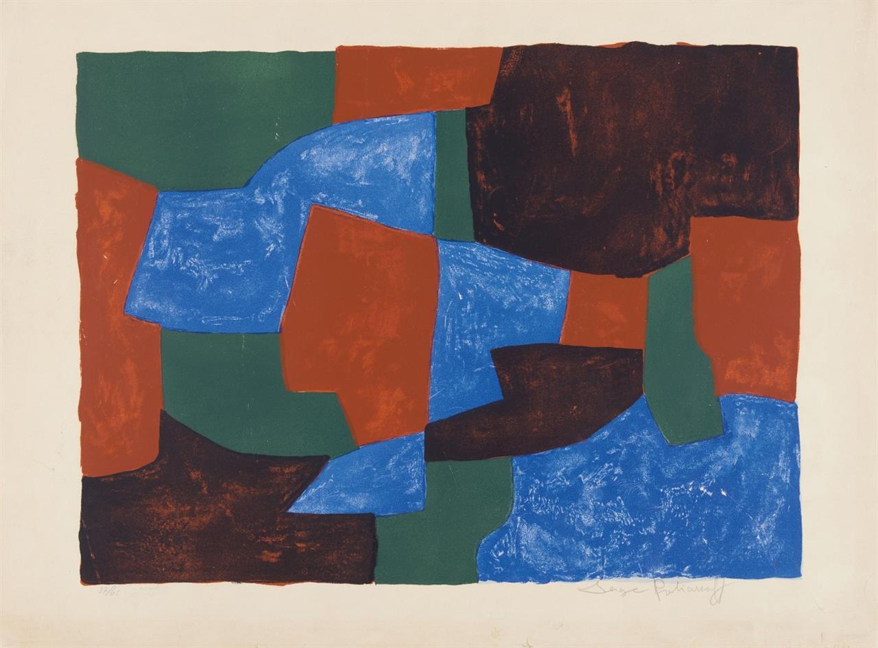 Serge Poliakoff. Komposition in Blau, Grün und Rot. 1961. Farblithographie. Signiert. Ex. 37/65. P./S. 31.